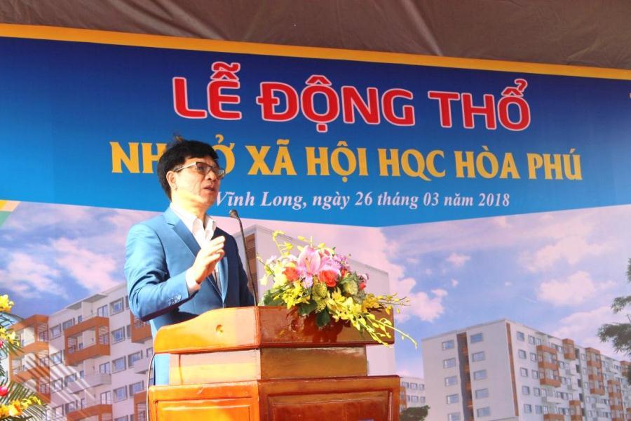 Đại diện cho đơn vị Phát triển dự án – Tập Đoàn Hoàng Quân – T.S Trương Anh Tuấn phát biểu tại buổi lễ